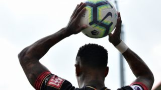 Bournemouth's English defender Nathaniel Clyne prepares to take a throw-in during the English Premier League football match between Bournemouth and Burnley at the Vitality Stadium in Bournemouth, southern England on April 6, 2019. (Photo by Glyn KIRK / AFP) / RESTRICTED TO EDITORIAL USE. No use with unauthorized audio, video, data, fixture lists, club/league logos or 'live' services. Online in-match use limited to 120 images. An additional 40 images may be used in extra time. No video emulation. Social media in-match use limited to 120 images. An additional 40 images may be used in extra time. No use in betting publications, games or single club/league/player publications. /