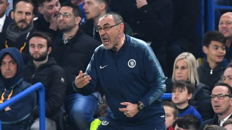 Chelsea's Italian head coach Maurizio Sarri reacts during the UEFA Europa League semi-final second leg football match between Chelsea and Eintracht Frankfurt at Stamford Bridge in London on May 9, 2019. (Photo by Oliver GREENWOOD / AFP)