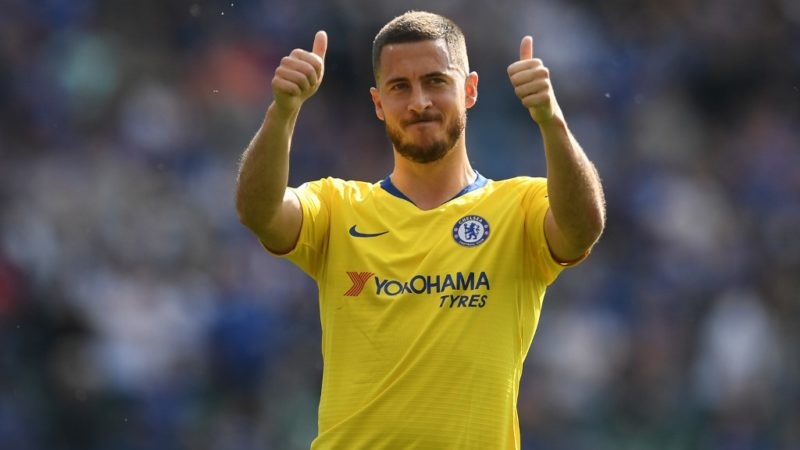 Chelsea's Belgian midfielder Eden Hazard gestures to supporters on the pitch after the English Premier League football match between Leicester City and Chelsea at King Power Stadium in Leicester, central England on May 12, 2019. - The game finished 0-0. (Photo by Daniel LEAL-OLIVAS / AFP) / RESTRICTED TO EDITORIAL USE. No use with unauthorized audio, video, data, fixture lists, club/league logos or 'live' services. Online in-match use limited to 120 images. An additional 40 images may be used in extra time. No video emulation. Social media in-match use limited to 120 images. An additional 40 images may be used in extra time. No use in betting publications, games or single club/league/player publications. /