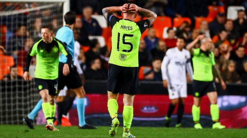 Jonny Hayes of Celtic FC reacts  during second leg of their last 32 UEFA Europa League match between  Valencia CF v AS Celtic at Mestalla Stadium on February 21, 2019. (Photo by Jose Miguel Fernandez de Velasco/Gtres/Urbanandsport/Nurphoto)