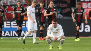 firo: 05.05.2019, Football, 2018/2019, 1.Bundesliga: Bayer Leverkusen - Eintracht Frankfurt exchanged, Enttauschung Eintracht Filip Kostic after own goal by Martin Hinteregger back to 1: 6   usage worldwide