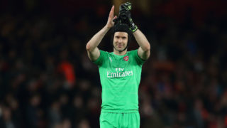 LONDON, ENGLAND - MAY 02: Petr Cech of Arsenal at full time of the UEFA Europa League Semi Final First Leg match between Arsenal and Valencia at Emirates Stadium on May 2, 2019 in London, England. (Photo by James Williamson - AMA/Getty Images)