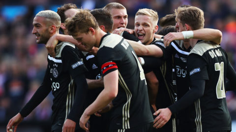 ROTTERDAM, NETHERLANDS - MAY 05:  Klaas-Jan Huntelaar of Ajax celebrates scoring his teams second goal of the game with team mates during the Dutch Toto KNVB Cup Final between Willem II Tilburg and Ajax at De Kuip on May 05, 2019 in Rotterdam, Netherlands. (Photo by Dean Mouhtaropoulos/Getty Images)