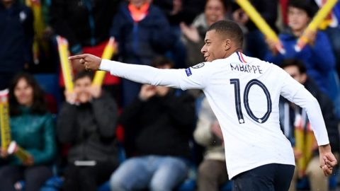 France's forward Kylian Mbappe celebrates after scoring during the UEFA Euro 2020 qualification football match between Andorra and France at the National stadium in Andorra La Vella, on June 11, 2019. (Photo by FRANCK FIFE / AFP)