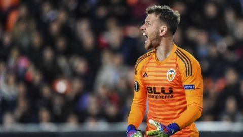 5807722 07.03.2019 Valencia's goalkeeper Neto reacts during the Europa League soccer match between Krasnodar and Valencia, in Valencia, Spain. Vladimir Pesnya / Sputnik