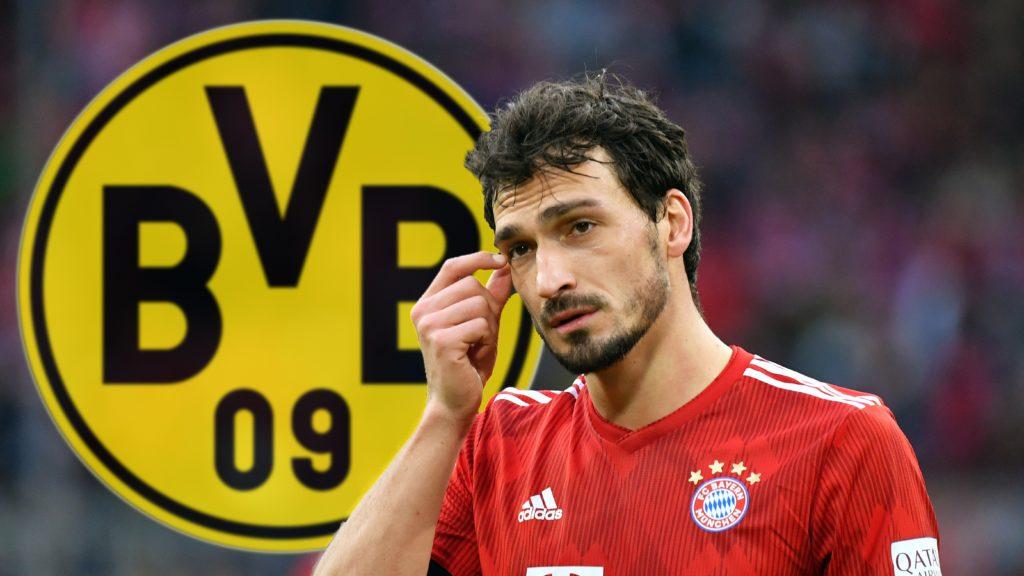 FOTOMONTAGE: Mats HUMMELS (Bayern Munich) apparently before returning to Borussia Dortmund. Archive photo; Mats HUMMELS (FC Bayern Munich) is skeptical, gesture, action, single shot, single cut motive, half figure, half figure. 1. Bundesliga, 25.matchday, matchday25, Bayern Munich M) - VFL Wolfsburg (WOB) 6-0. ALLIANZARENA, DFL REGULATIONS PROHIBIT ANY USE OF PHOTOGRAPH AS IMAGE SEQUENCES AND / OR QUASI VIDEO on March 9, 1919 in Muenchen. | Usage worldwide