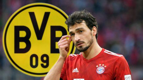 FOTOMONTAGE: Mats HUMMELS (Bayern Munich) apparently before returning to Borussia Dortmund. Archive photo; Mats HUMMELS (FC Bayern Munich) is skeptical, gesture, action, single shot, single cut motive, half figure, half figure. 1. Bundesliga, 25.matchday, matchday25, Bayern Munich M) - VFL Wolfsburg (WOB) 6-0. ALLIANZARENA, DFL REGULATIONS PROHIBIT ANY USE OF PHOTOGRAPH AS IMAGE SEQUENCES AND / OR QUASI VIDEO on March 9, 1919 in Muenchen.   Usage worldwide