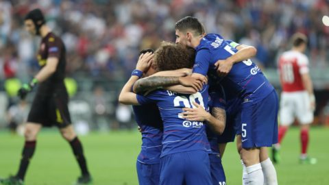 BAKU, AZERBAIJAN - MAY 29: Players of Chelsea celebrate after  scoring a goal during the UEFA Europa League final between Chelsea FC and Arsenal FC at the Olympic Stadium in Baku, Azerbaijan, on 29 May 2019.  Resul Rehimov / Anadolu Agency