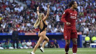 Women streaker Kinsey Wolanski during the 2019 UEFA Champions League Final match between Tottenham Hotspur and Liverpool at Wanda Metropolitano Stadium, Madrid, Spain on 1 June 2019.  (Photo by Giuseppe Maffia/NurPhoto)