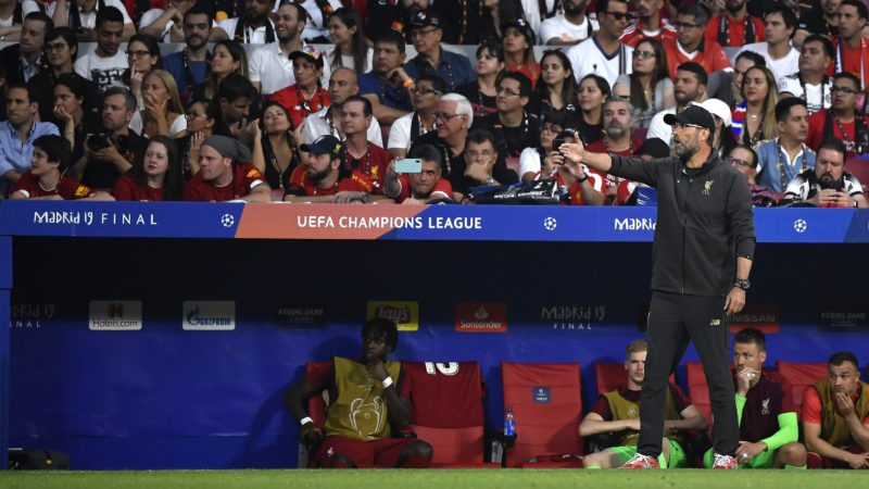 Jurgen Klopp head manager of Liverpool FC during the 2019 UEFA Champions League Final match between Tottenham Hotspur and Liverpool at Wanda Metropolitano Stadium, Madrid, Spain on 1 June 2019.  (Photo by Giuseppe Maffia/NurPhoto)