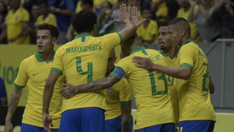 Players of the Brazilian National Team during a friendly against the Qatar National Team, valid as preparation for the Copa América 2019, on the night of Wednesday, 05, at the National Stadium Mané Garrincha in Brasília. (PHOTO: RICARDO BOTELHO/BRAZIL PHOTO PRESS)