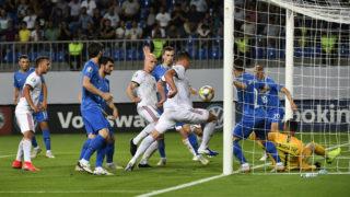 Baku, 2019. június 8. Willi Orbán (j4) gólt szerez az Azerbajdzsán - Magyarország labdarúgó Európa-bajnoki selejtezõmérkõzésen a bakui Bakcell Arénában 2019. június 8-án. MTI/Szigetváry Zsolt