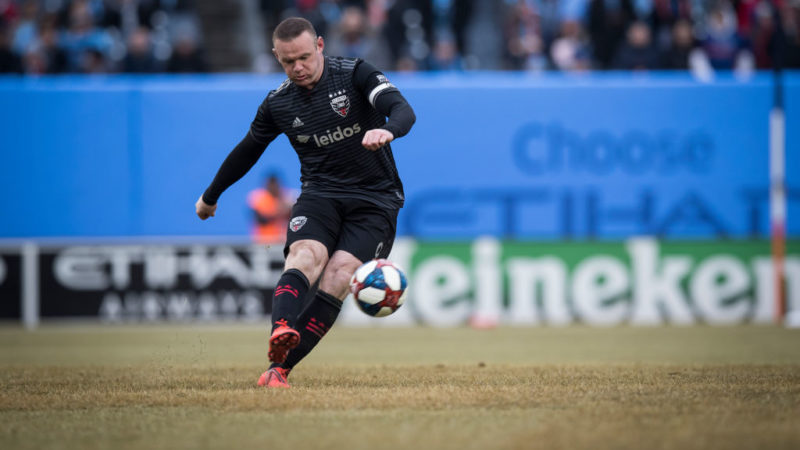 BRONX, NY - MARCH 10: Wayne Rooney #9 of D.C. United takes a penalty shot during the 1st half of the 2019 Major League Soccer Home Opener match between New York City FC and DC United at Yankee Stadium on March 10, 2019 in the Bronx borough of New York. The match ended in a tie with a score of 0 to 0.  (Photo by Ira L. Black/Corbis via Getty Images)