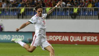Baku, 2019. június 8. Holman Dávid, mielõtt megszerzi a csapat harmadik gólját az Azerbajdzsán - Magyarország labdarúgó Európa-bajnoki selejtezõmérkõzésen a bakui Bakcell Arénában 2019. június 8-án. MTI/Szigetváry Zsolt