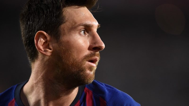Barcelona's Argentinian forward Lionel Messi looks on during the 2019 Spanish Copa del Rey (King's Cup) final football match between Barcelona and Valencia on May 25, 2019 at the Benito Villamarin stadium in Sevilla. (Photo by JOSE JORDAN / AFP)