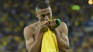 Brazil's Richarlison celebrates after scoring against Peru during the Copa America football tournament final match at Maracana Stadium in Rio de Janeiro, Brazil, on July 7, 2019. (Photo by Juan MABROMATA / AFP)