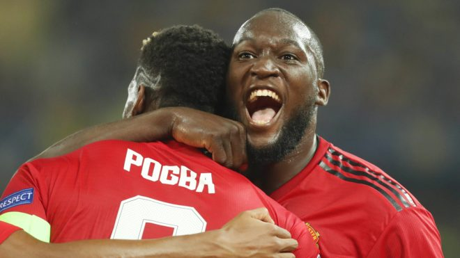 Paul Pogba (Manchester United) celebrates a goal with Romelu Lukaku during the UEFA Champions League, Group H football match between Young Boys Berne and Manchester United on September 19, 2018 at Stade de Suisse in Berne, Switzerland - Photo Laurent Lairys / DPPI