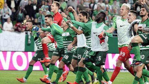 Budapest, 2019. július 10.Ferencvárosi játékosok ünnepelnek, miután 2-1-re győztek a bolgár Ludogorec ellen a labdarúgó Bajnokok Ligája selejtezőjének 1. fordulójában játszott mérkőzésen Budapesten, a Groupama Arénában 2019. július 10-én.MTI/Koszticsák Szilárd