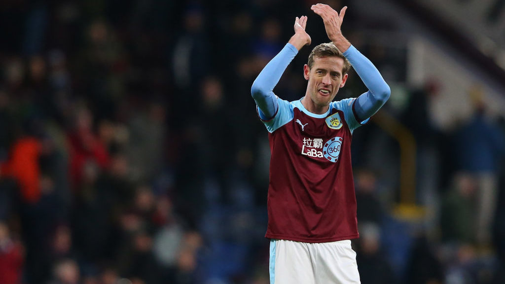BURNLEY, ENGLAND - FEBRUARY 02:  Peter Crouch of Burnley applauds their supporters after the Premier League match between Burnley FC and Southampton FC at Turf Moor on February 2, 2019 in Burnley, United Kingdom.  (Photo by Alex Livesey/Getty Images)
