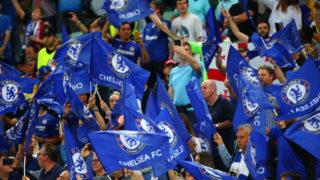 BAKU, AZERBAIJAN - MAY 29: Chelsea fans wave flags prior to the UEFA Europa League Final between Chelsea and Arsenal at Baku Olimpiya Stadionu on May 29, 2019 in Baku, Azerbaijan. (Photo by Robbie Jay Barratt - AMA/Getty Images)
