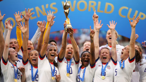 LYON, FRANCE - JULY 07:  Carli Lloyd of the USA lifts the FIFA Women's World Cup Trophy following her team's victory in the 2019 FIFA Women's World Cup France Final match between The United States of America and The Netherlands at Stade de Lyon on July 07, 2019 in Lyon, France. (Photo by Richard Heathcote/Getty Images)