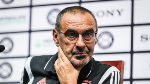 Head coach Maurizio Sarri of Juventus F.C. attends a press conference before the 2019 International Champions Cup football tournament against Inter Milan in Nanjing city, east China's Jiangsu province, 23 July 2019.