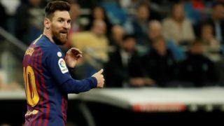 MADRID, SPAIN - MARCH 02: Lionel Messi of Barcelona gestures during the La Liga week 26 soccer match between Real Madrid and Barcelona at Santiago Bernabeu Stadium in Madrid, Spain on March 02, 2019.  Burak Akbulut / Anadolu Agency