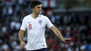 Harry Maguire of England and Leicester City FC during the UEFA Nations League Semi-Final football match Netherlands vs England at D.Afonso Henriques stadium in Guimares on June 6, 2019.   (Filipe Amorim / NurPhoto)  (Photo by Filipe Amorim/NurPhoto)