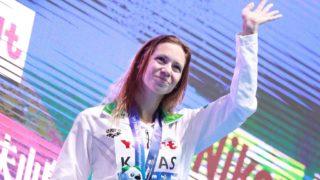 Boglarka KAPAS of Hungary, winner celebrates during an awarding ceremony of Women 200m Butterfly in FINA World Championships at NAMBU INTERNATIONAL AQUATICS CENTRE in Gwangju, Republic of Korea on July 25, 2019. Boglarka KAPAS of Hungary won the event to claim gold medal.   ( The Yomiuri Shimbun )