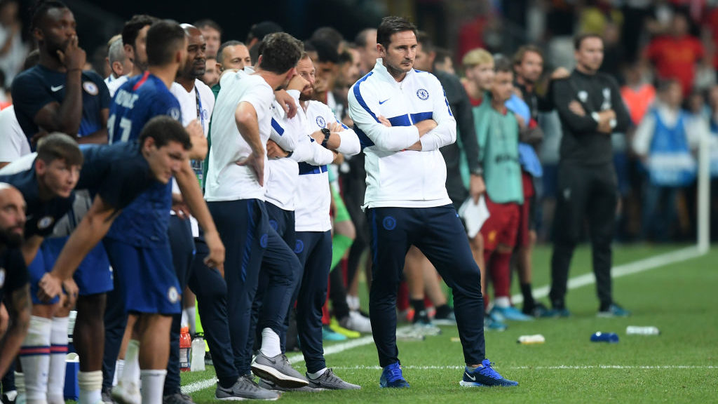ISTANBUL, TURKEY - AUGUST 14: Frank Lampard, Manager of Chelsea looks on during the penalty shoot out during the UEFA Super Cup match between Liverpool and Chelsea at Vodafone Park on August 14, 2019 in Istanbul, Turkey. (Photo by Michael Regan/Getty Images)