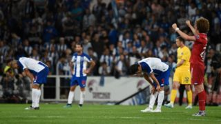 Gil Vicente's Bulgarian midfielder Bozhidar Kraev (R) celebrates his goal at the end of the Portuguese league football match between Gil Vicente FC and FC Porto at the Cidade de Barcelos stadium in Barcelos on August 10, 2019 (Photo by MIGUEL RIOPA / AFP)