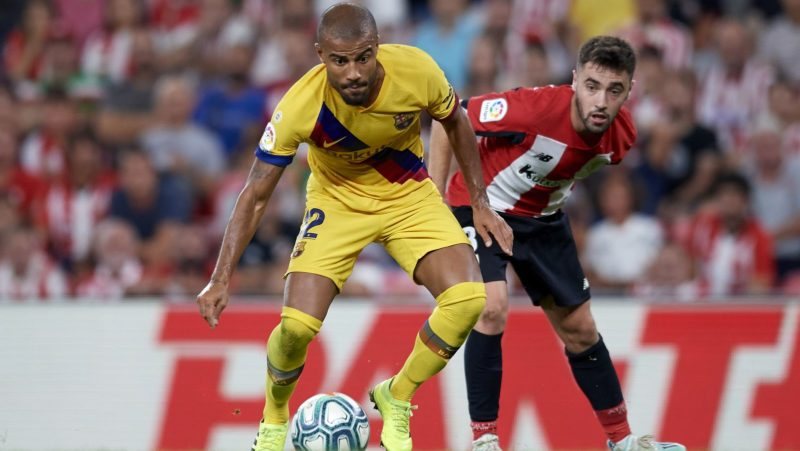 Rafinha of Barcelona and Unai Lopez of Athletic competes for the ball during the Liga match between Athletic Club and FC Barcelona at San Mames Stadium on August 16, 2019 in Bilbao, Spain. (Photo by Jose Breton/Pics Action/NurPhoto)