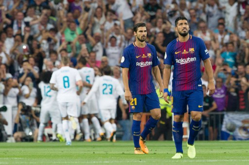 FC Barcelona´s Uruguayan forward Luis Suarez lamenting during the second leg of the Spanish Super Cup between Real Madrid and FC Barcelona played at Santiago Bernabeu Stadium in Madrid, Spain, on August 16th 2017, Photo Rudy / SpainDPPI / DPPI