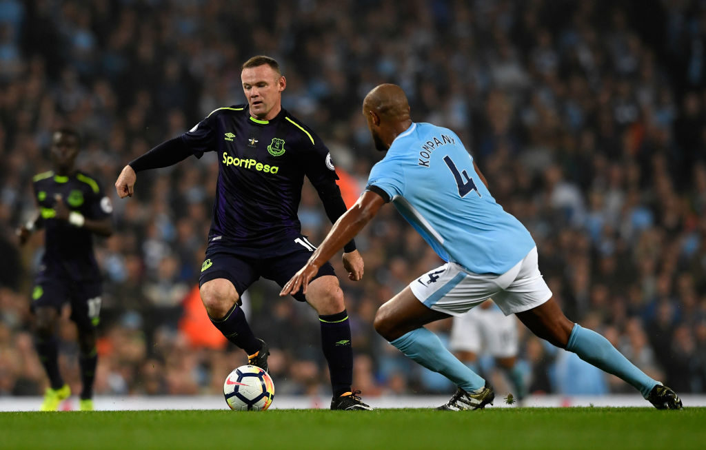 during the Premier League match between Manchester City and Everton at Etihad Stadium on August 21, 2017 in Manchester, England.