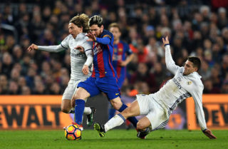 during the La Liga  match between FC Barcelona and Real Madrid CF at Camp Nou on December 3, 2016 in Barcelona, Spain.
