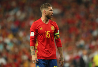 MADRID, SPAIN - SEPTEMBER 02:  Sergio Ramos of Spain reacts during the FIFA 2018 World Cup Qualifier between Spain and Italy at Estadio Santiago Bernabeu on September 2, 2017 in Madrid, Spain.  (Photo by Matthew Ashton - AMA/Getty Images)