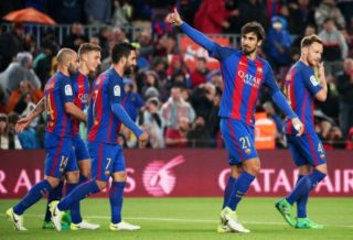 Andre Gomes celebration during La Liga match between F.C. Barcelona v Osasuna, in Barcelona, on April 26, 2017. (Photo by Urbanandsport/NurPhoto)