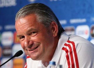 TOULOUSE, FRANCE - JUNE 25: In this handout image provided by UEFA,  Head coach Bernd Storck of Hungary attends the press conference at Stadium Municipal on June 25, 2016 in Toulouse, France. (Handout photo provided by UEFA. Only editorial use relating to the event described is permitted. Photo may be distributed to third parties to use for the same purpose provided that no charge is made).(Photo by Handout/UEFA via Getty Images)