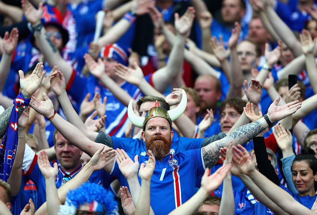 PARIS, FRANCE - JULY 03:  Iceland fans show their support prior to the UEFA EURO 2016 quarter final match between France and Iceland at Stade de France on July 3, 2016 in Paris, France.  (Photo by Clive Rose/Getty Images)