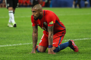 SAINT PETERSBURG, RUSSIA - JULY 02:  Arturo Vidal of Chile looks dejected during the FIFA Confederations Cup Russia 2017 Final match between Chile and Germany at Saint Petersburg Stadium on July 2, 2017 in Saint Petersburg, Russia.  (Photo by Matthew Ashton - AMA/Getty Images)