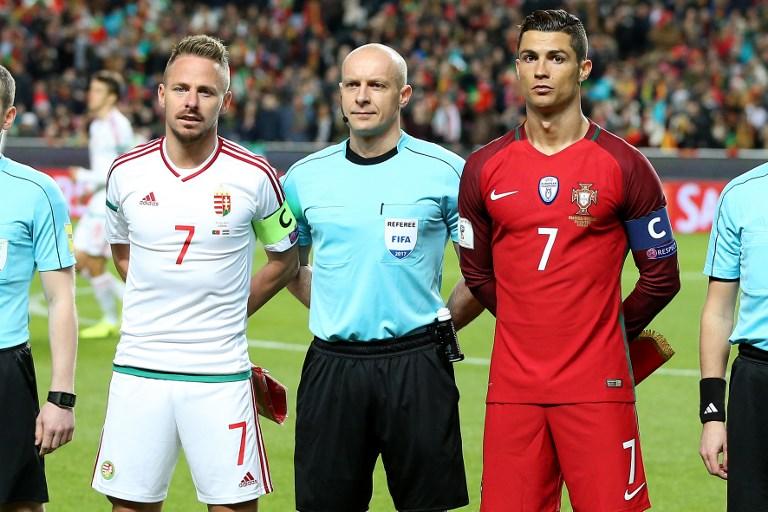 Portugals forward Cristiano Ronaldo (R) and Hungarys forward Balazs Dzsudzsak (L) during Portugal v Hungary - FIFA 2018 World Cup Qualifier at Estadio da Luz on March 25, 2017 in Lisbon, Portugal. (Photo by Bruno Barros / DPI / NurPhoto)