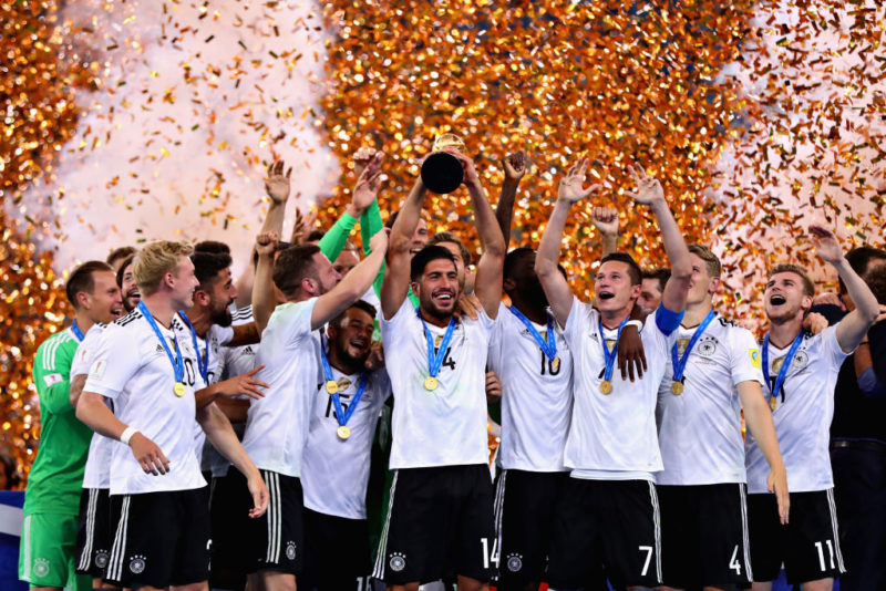 SAINT PETERSBURG, RUSSIA - JULY 02:  Emre Can of Germany lifts the FIFA Confederations Cup trophy after the FIFA Confederations Cup Russia 2017 Final match between Chile and Germany at Saint Petersburg Stadium on July 2, 2017 in Saint Petersburg, Russia.  (Photo by Chris Brunskill Ltd/Getty Images)