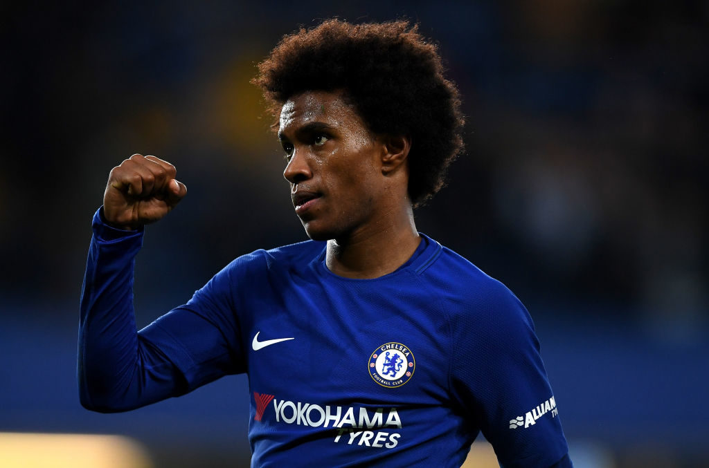 LONDON, ENGLAND - OCTOBER 25:  Willian of Chelsea celebrates scoring his sides second goal during the Carabao Cup Fourth Round match between Chelsea and Everton at Stamford Bridge on October 25, 2017 in London, England.  (Photo by Shaun Botterill/Getty Images)