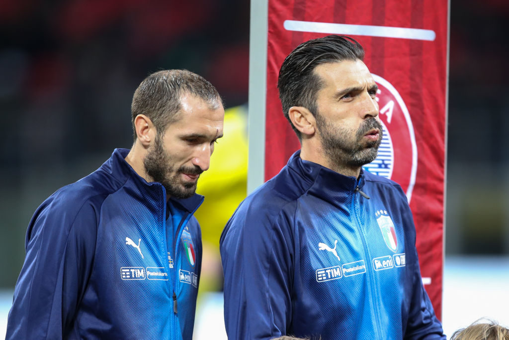 MILAN, ITALY - NOVEMBER 13: Giorgio Chiellini of Italy and Gianluigi Buffon of Italy during the FIFA 2018 World Cup Qualifier Play-Off: Second Leg between Italy and Sweden at San Siro Stadium on November 13, 2017 in Milan, . (Photo by Robbie Jay Barratt - AMA/Getty Images)