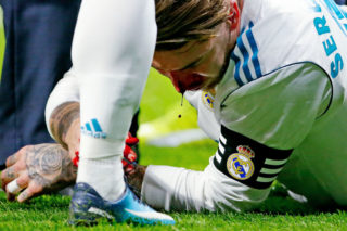 MADRID, SPAIN - NOVEMBER 18: Sergio Ramos of Real Madrid  during the Spanish Primera Division   match between Atletico Madrid v Real Madrid at the Estadio Wanda Metropolitano on November 18, 2017 in Madrid Spain (Photo by Eric Verhoeven/Soccrates/Getty Images)