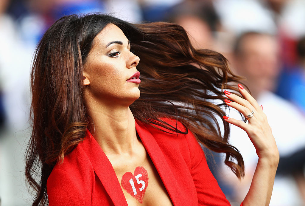 LILLE, FRANCE - JUNE 19:  Erjona Sulejmani, wife of Blerim Dzemaili of Switzerland is seen prior to the UEFA EURO 2016 Group A match between Switzerland and France at Stade Pierre-Mauroy on June 19, 2016 in Lille, France.  (Photo by Paul Gilham/Getty Images)