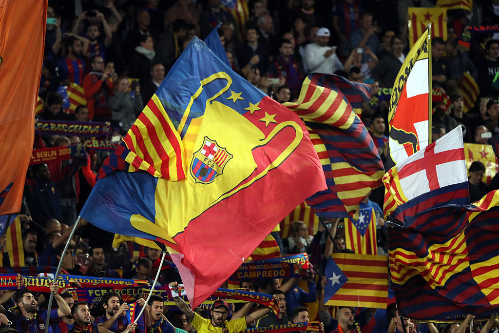 BARCELONA, SPAIN - OCTOBER 19: FC Barcelona and Catalonia flags during the UEFA Champions League match between FC Barcelona and Manchester City FC at Camp Nou on October 19, 2016 in Barcelona, . (Photo by Matthew Ashton - AMA/Getty Images)
