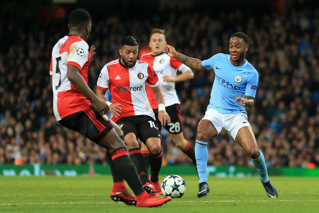 MANCHESTER, UNITED KINGDOM - NOVEMBER 21: Raheem Sterling of Manchester City battles with a rio of Feyenoord defenders, including Tonny Vilhena (C) during the UEFA Champions League  match between Manchester City v Feyenoord at the Etihad Stadium on November 21, 2017 in Manchester United Kingdom (Photo by Offside/Soccrates/Getty Images)