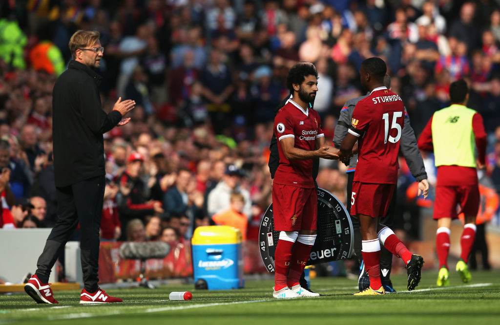 LIVERPOOL, ENGLAND - AUGUST 19: Mohamed Salah of Liverpool comes on for Daniel Sturridge of Liverpool during the Premier League match between Liverpool and Crystal Palace at Anfield on August 19, 2017 in Liverpool, England.  (Photo by Jan Kruger/Getty Images)
