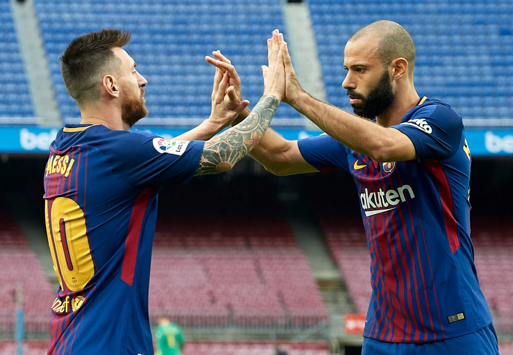 BARCELONA, SPAIN - OCTOBER 01:  Lionel Messi of Barcelona celebrates with his teammate Javier Mascherano during the La Liga match between Barcelona and Las Palmas at Camp Nou on October 1, 2017 in Barcelona, Spain.  (Photo by Manuel Queimadelos Alonso/Getty Images)
